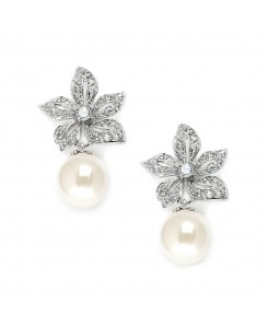 Vintage Floral Pearl Drop Wedding Earrings