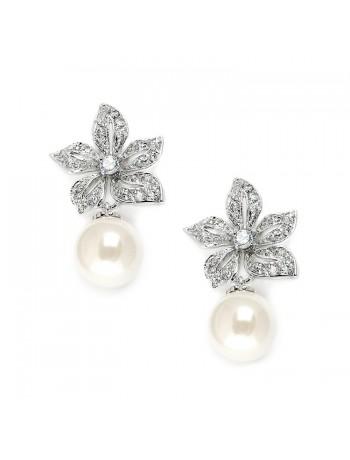 Vintage Floral Pearl Drop Wedding Earrings