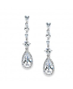 Slender Teardrop Wedding or Prom CZ Dangle Earrings