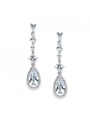 Slender Teardrop Wedding or Prom CZ Dangle Earrings