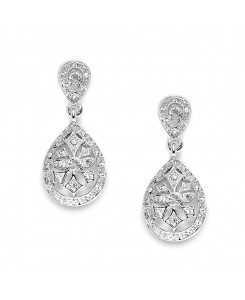 Vintage Etched CZ Wedding or Bridesmaids Drop Earrings