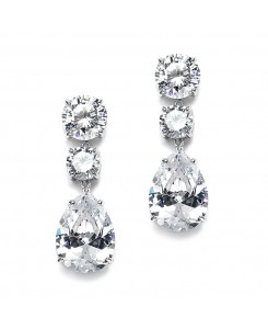 Bold Shape Cubic Zirconia Wedding or Party Earrings