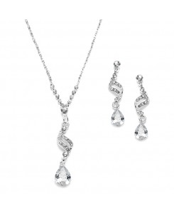 Dainty Necklace & Earrings Set with CZ Teardrops