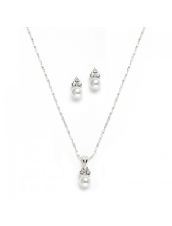 White Pearl & Crystal Wedding Necklace & Earrings