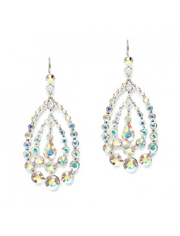 Concentric AB Crystal Teardrops Dangle Earrings