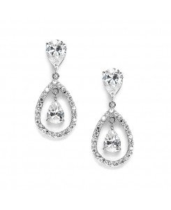 Cubic Zirconia Caged Teardrop Wedding Earrings