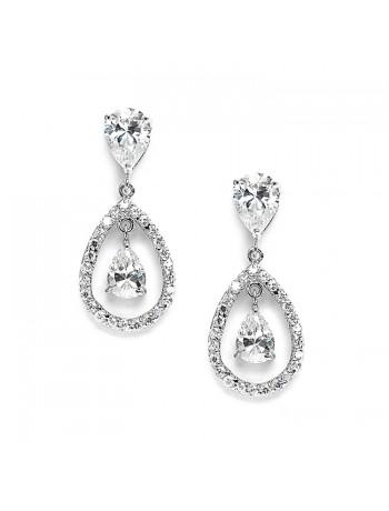 Cubic Zirconia Caged Teardrop Wedding Earrings