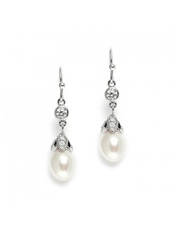Vintage Wedding Earrings with Oval Pearl Drops