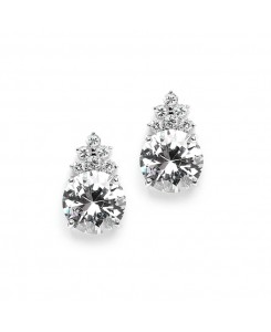 Bold Round CZ Bridal or Bridesmaid Earrings with CZ Accents