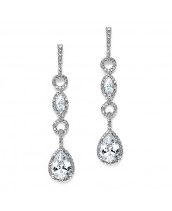 Glamorous Linear Pave Cubic Zirconia Wedding Earrings