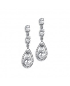 Dangle Wedding Earrings with Caged CZ Pear