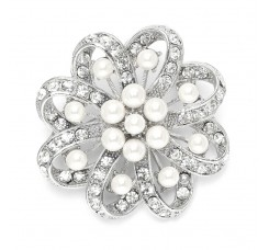 Regal Crystal & Pearl Swirl Vintage Wedding Brooch