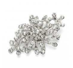 Budding Crystal Blossoms Silver Wedding Pin