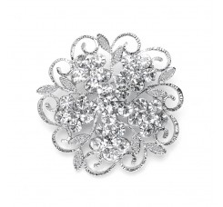 Filigree Crystal Flower Wedding or Prom Pin