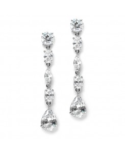 Linear Cubic Zirconia Wedding or Prom Dangle Earrings