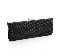 Chic Jet Black Mesh Clutch Evening Purse