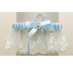 Embroidered Ivory Lace Scalloped Something Blue Bridal Garter