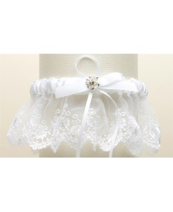 Embroidered White Lace Scalloped Garter with Brushed Silver Flower