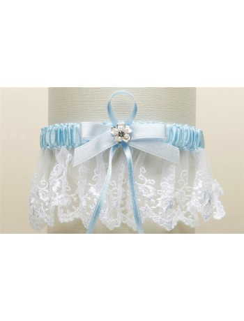 Embroidered White Lace Scalloped Something Blue Bridal Garter