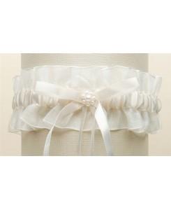 Ivory Organza Wedding Garter with Satin Ribbon & Pearls