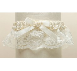Ivory Lace Wedding Garter with Satin Band with Pearl Heart