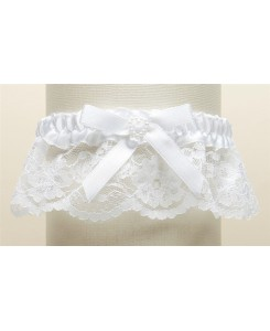 White Lace Wedding Garter with Satin Band with Pearl Heart