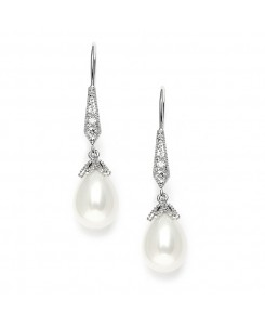 Vintage French Wire Wedding Earrings with Pearl Teardrops with CZ Pave