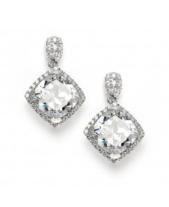 Popular Micro Pave CZ Cushion Cut Wedding Earrings