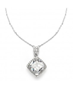 Popular Micro Pave CZ Cushion Cut Wedding Necklace