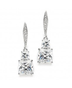 Princess Cut CZ Vintage Wedding or Bridesmaids Drop Earrings