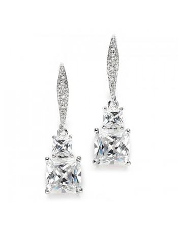 Princess Cut CZ Vintage Wedding or Bridesmaids Drop Earrings