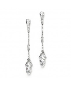 Delicate Cubic Zirconium Linear Wedding or Bridesmaids Earrings