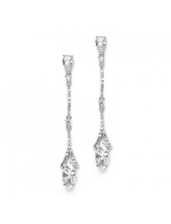 Delicate Cubic Zirconium Linear Wedding or Bridesmaids Earrings