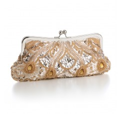 Champagne Evening or Bridal Bag with Beads, Sequins & Gems
