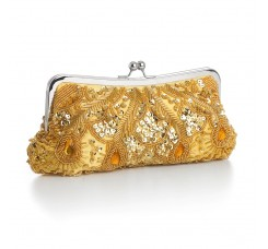 Gold Multi Evening Bag with Beads, Sequins & Gems