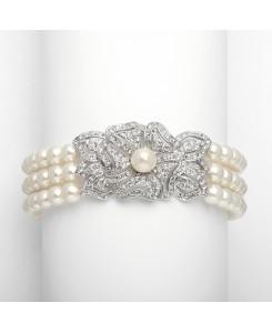 3-Row Pearl & Cubic Zirconia Vintage Wedding Bracelet
