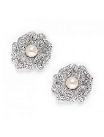 Vintage Cubic Zirconia Pave Flower Wedding Earrings with Pearl
