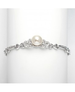 Sleek Designer Pearl & Cubic Zirconia Wedding Bracelet