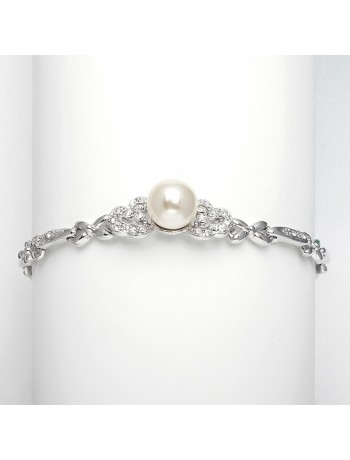Sleek Designer Pearl & Cubic Zirconia Wedding Bracelet