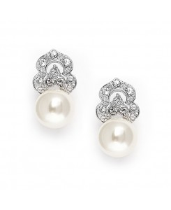 Cubic Zirconia & Soft Cream Pearl Vintage Wedding Earrings
