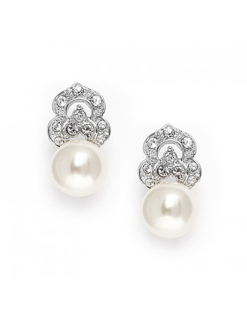 Cubic Zirconia & Soft Cream Pearl Vintage Wedding Earrings