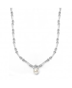 Sleek Designer Pearl & Cubic Zirconia Wedding Necklace