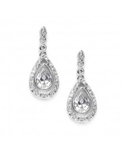 Cubic Zirconia Bridal Earrings with Pear Teardrops