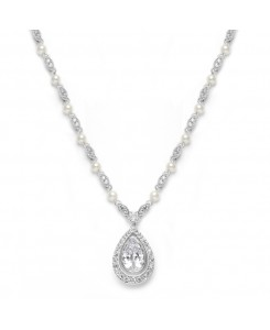 Victorian Bridal Necklace with Pearls & Cubic Zirconia Teardrop