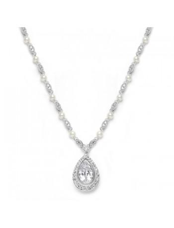 Victorian Bridal Necklace with Pearls & Cubic Zirconia Teardrop