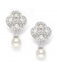 Art Deco Cubic Zirconia &  Pearl Drop Wedding Earrings