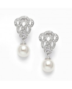 Cubic Zirconia Braided Wedding Earrings with Pearl Drop