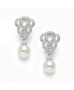 Clip-On Cubic Zirconia Braided Wedding Earrings with Pearl Drop