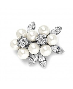 Soft Cream Pearl & Crystal Cluster Bridal Brooch