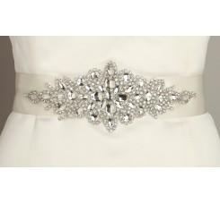 Opulent Ivory Satin Bridal Sash with Crystal Starburst